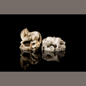 Two carved Japanese ivory netsuke Meiji Period