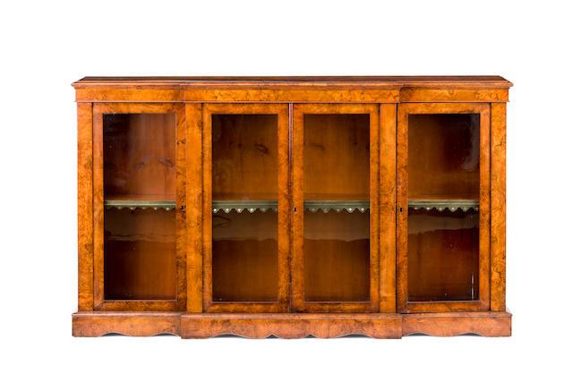 A mid Victorian burr walnut breakfront dwarf breakfront bookcase