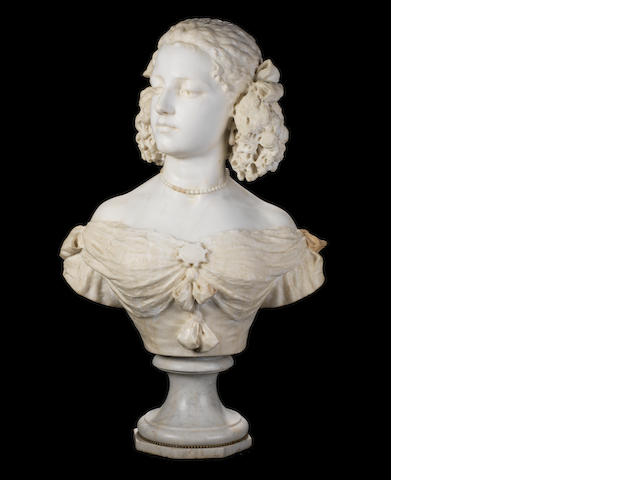 A Carrara marble bust of a young lady, signed S. Bricoli Roma