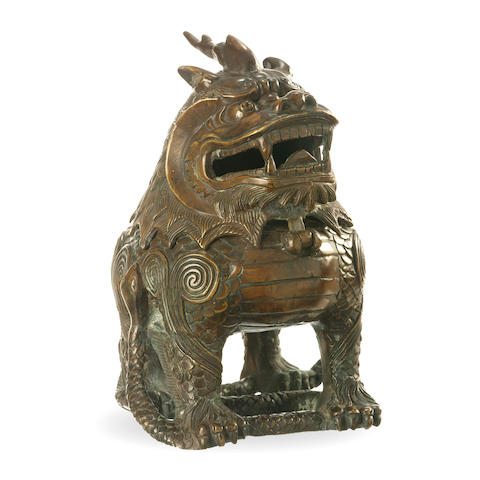 A bronze 'mythical beast' incense burner 18th/ 19th century