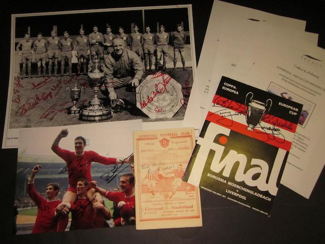 A collection of Liverpool hand signed items