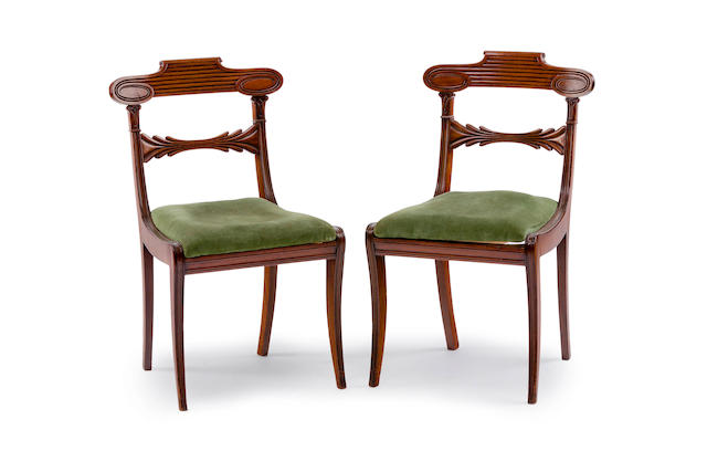 A pair of Regency mahogany single chairs