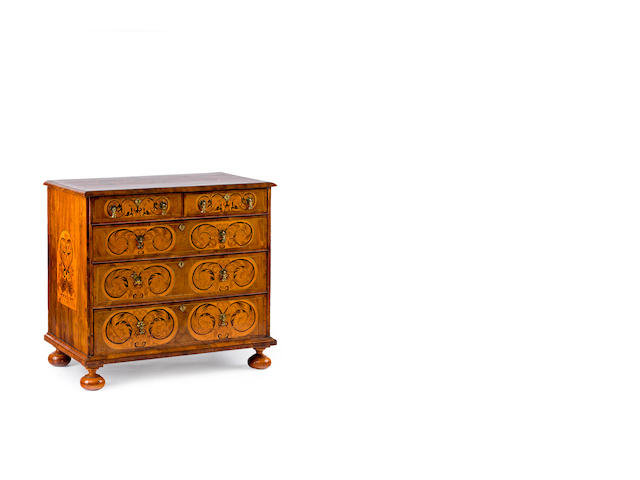 A William & Mary walnut and marquetry inlaid chest
