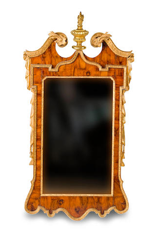 A George II walnut and gesso wall mirror