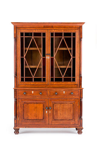 A late George III oak and mahogany bookcase