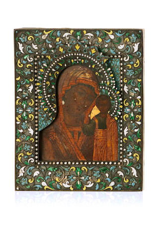 A Russian icon  in oil and gold leaf on a wooden panel of the Blessed Virgin with Holy Infant