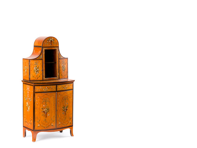 A late Victorian painted satinwood cabinet in the Hepplewhite style