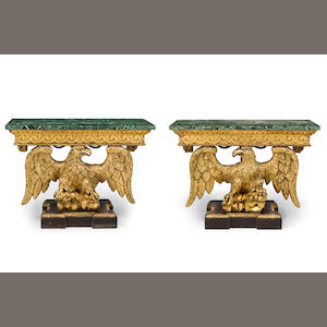 A fine pair of giltwood eagle console tables originally from Kilkenny Castle in IrelandSecond quarter 18th century