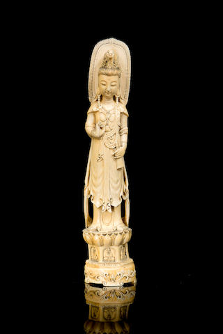A large Chinese ivory Guanyin 20th century