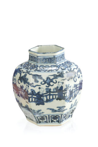 A hexagonal blue and white vase 18th/ 19th century