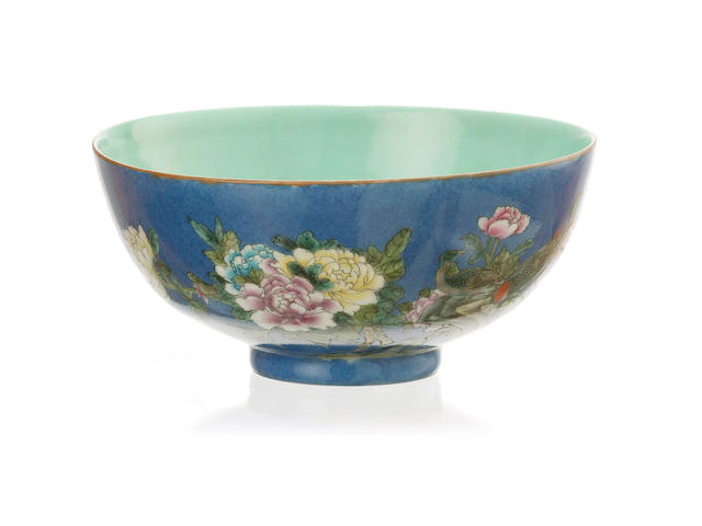 A blue-power ground 'pheasant' bowl 20th century