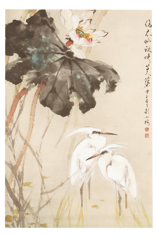 A Chinese painting of cormorants and lotus 20th century