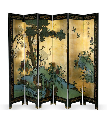 A Chinese six fold screen Early 20th century