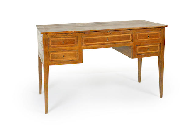 An late 18th century Italian  inlaid fruitwood desk
