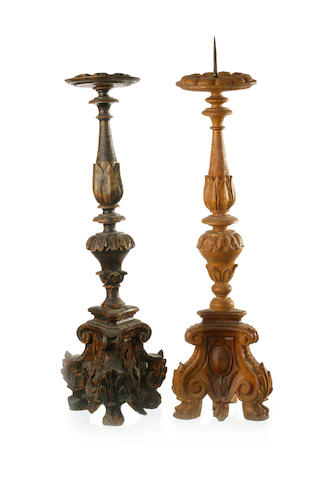 Five Italian carved fruitwood torcheres 18th/19th century