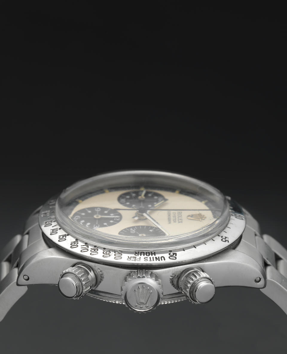 Rolex. A fine and rare stainless steel manual wind chronograph bracelet watch'Paul Newman,' Oyster Cosmograph, Ref:6265, Serial No.2921***, Circa 1971