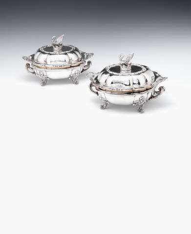 Pair of silver victorian entree dishes and covers also heater bases OSP