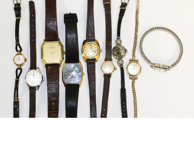 A lot of 9 various wristwatches