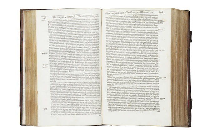HAKLUYT (RICHARD) The Principal Navigations, Voiages and Discoveries of the English Nation, 3 vol. in 2, FIRST EDIITON, 1598-1600