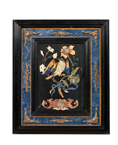 An Italian 19th century polychrome decorated scagliola panel of a bird