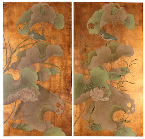 A pair of painted Japanese panels 20th century