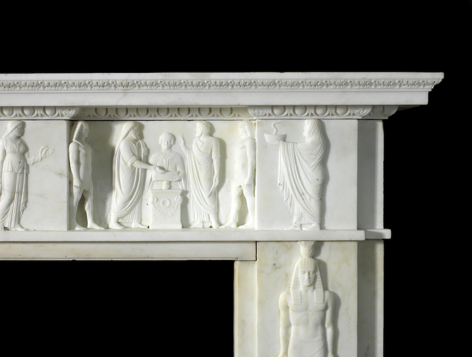 An early 19th century Egypto-Roman revival white marble chimneypiece