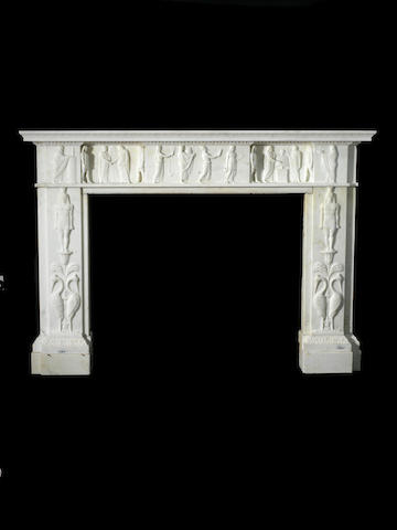 An early 19th century white marble chimneypiece