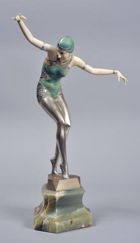 CRI-95, Ferdinand Preiss, Cabaret Girl, 38cm, marble, bronce and ivory