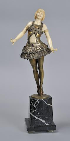 Otto Poertzel, attributed  A Patinated Bronze and Craved Ivory Figure of a Ballet Dancer, circa 1925