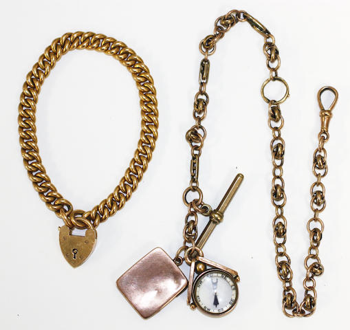 A fancy-link bracelet and an Albert chain with two charms