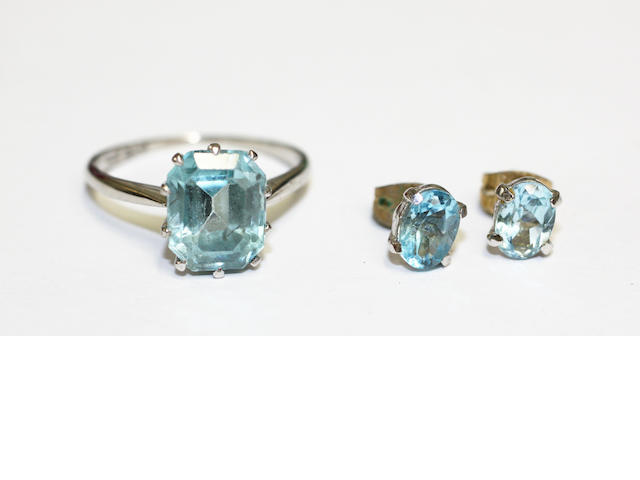 A blue topaz earrings and aquamarine ring suite