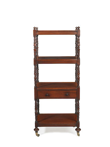A Regency mahogany four-tier what-not  by M. Willson, London