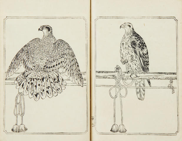 FALCONRY - Ehon Taka Kagami [The Mirror of Falconry], 5 parts (complete), [c.1890]