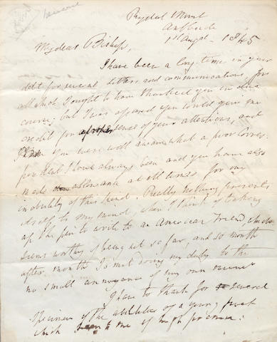 "WORDSWORTH (WILLIAM) Autograph letter signed (""Wm Wordsworth""), to ""My dear Bishop"", praising the work of a young American poet, 1845"