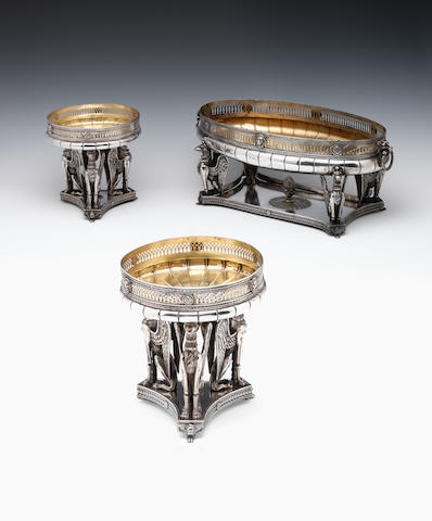 A French Second Empire silver three-piece garniture By Marie Bonnet, Paris circa 1870  (3)