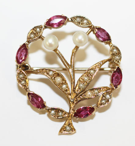 A 9ct gold seed pearl and ruby foliate brooch,