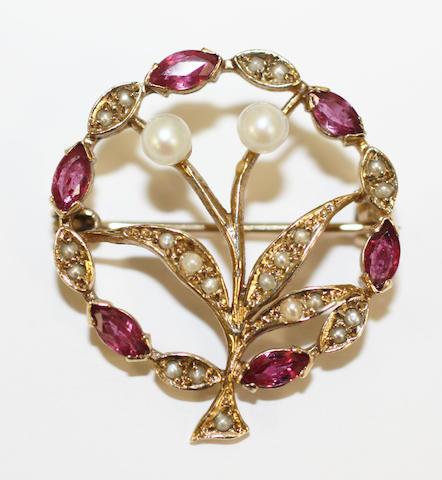 Seed pearl flower brooch