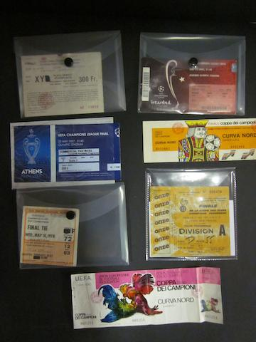 A collection of Liverpool European Cup/Champions League tickets