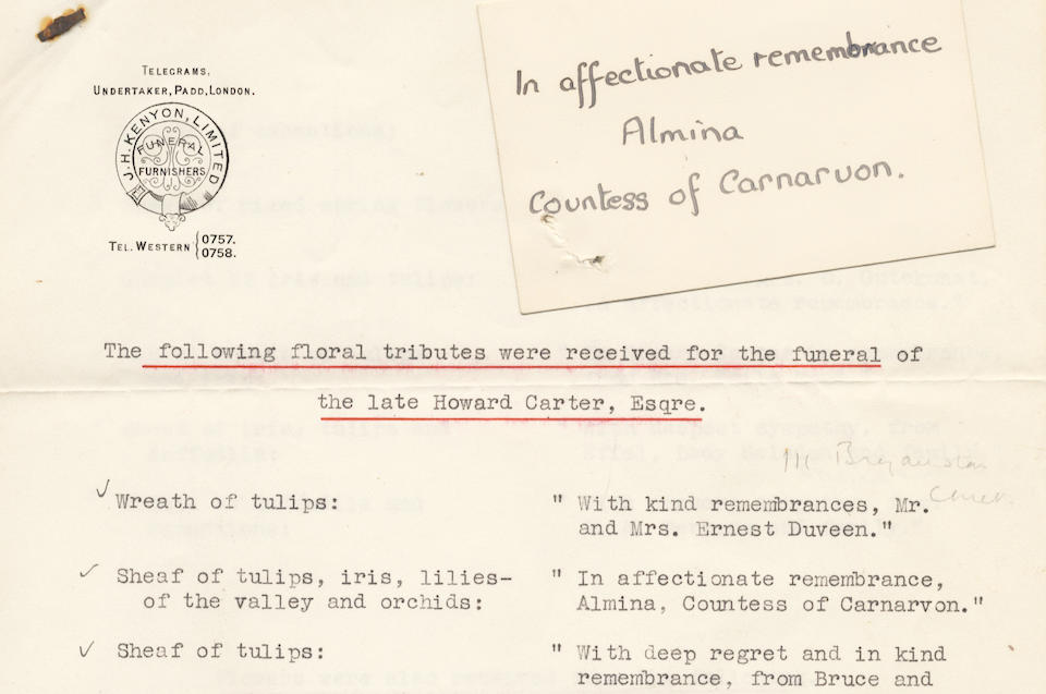 CARTER (HOWARD) The remaining papers of Howard Carter, retained by the Carter family, comprising autograph drafts of his account of the discovery of the tomb of Tutankhamun, lecture notes on the discovery, incoming correspondence, including letters from fellow Egyptologists and copies of outgoing letters, photographs, equipment used by him as an archaeologist, and material relating to his own death and funerary rites