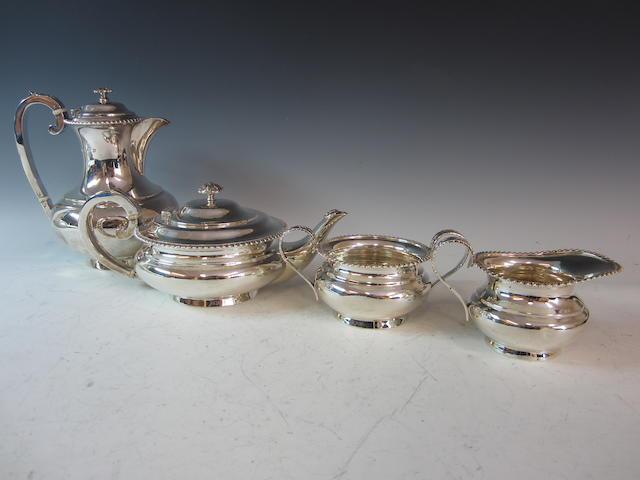 A silver four piece tea service, Sheffield 1926/7,  (4)
