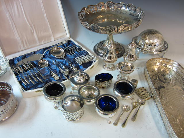A silver five piece cruet set,  Birmingham 1906,  (Qty)