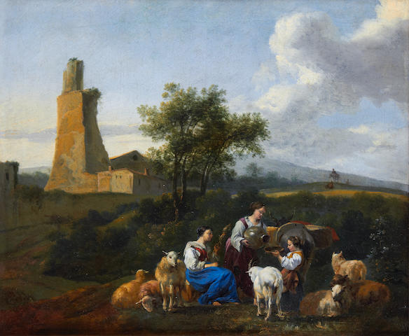 Attributed to Hendrick Mommers (Haarlem circa 1623-1693 Amsterdam) Figures and animals in a landscape