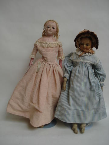 Two wax over composition shoulder head dolls 2