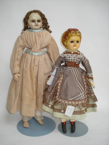 Two wax over composition dolls 2