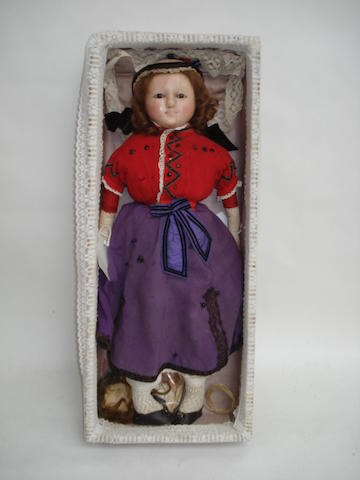 Large wax over composition shoulder head doll