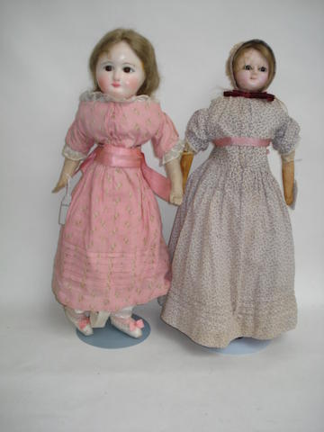 Two wax over composition shoulder head dolls 4