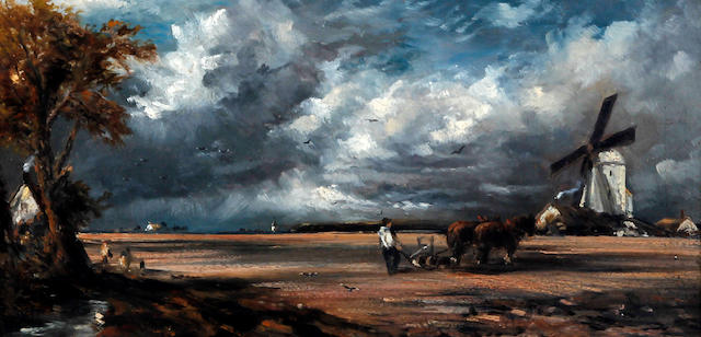 Follower of John Constable, RA (British, 1776-1837) Ploughing