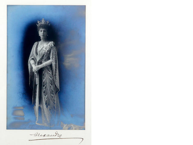 W & D Downey (British), Photograph 'Alexandra', a portrait photo of Queen Alexandra and related signed leter on Sandringham notepaper