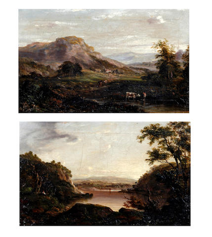 J. Barclay (British), (later 19th century) Landscape with cattle by a pool, together with another similar, a lake landscape, a pair