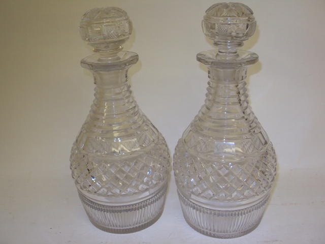 A pair of 19th century cut glass decanters and stoppers